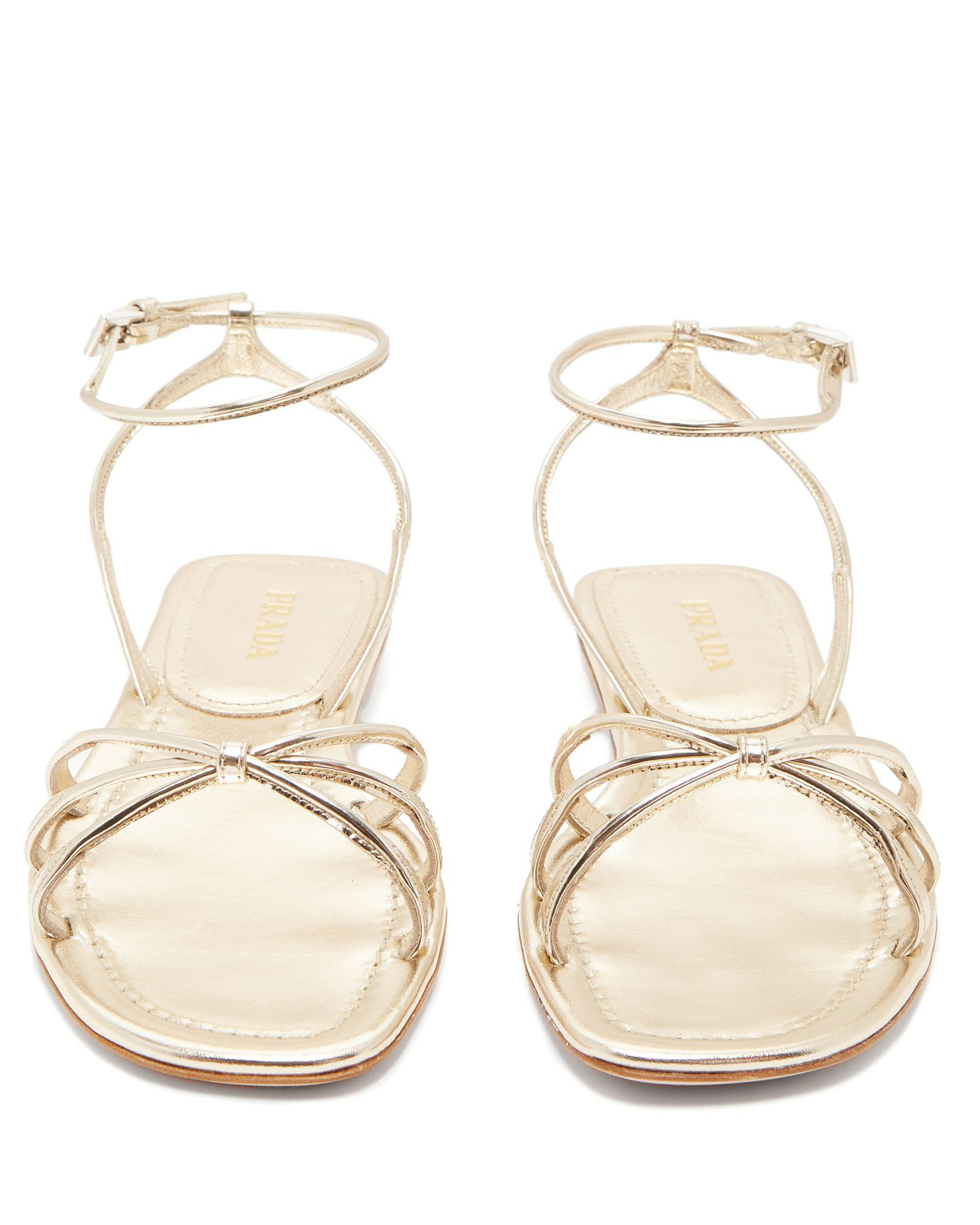 Prada Knot-Front Metallic Leather Sandals