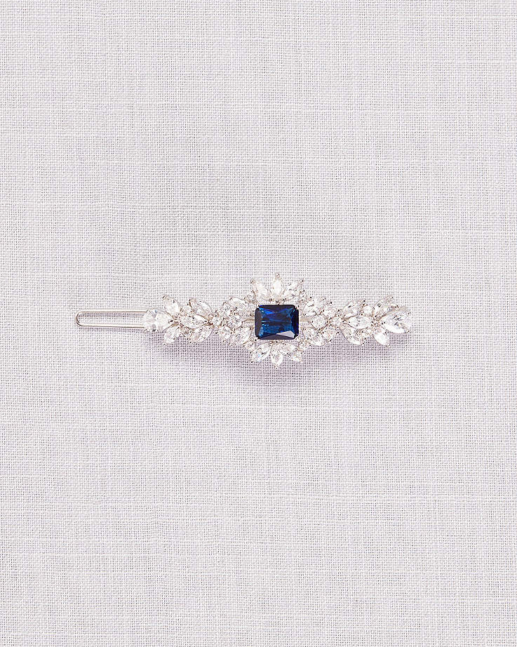 Blue Crystal Leaf Hair Clip