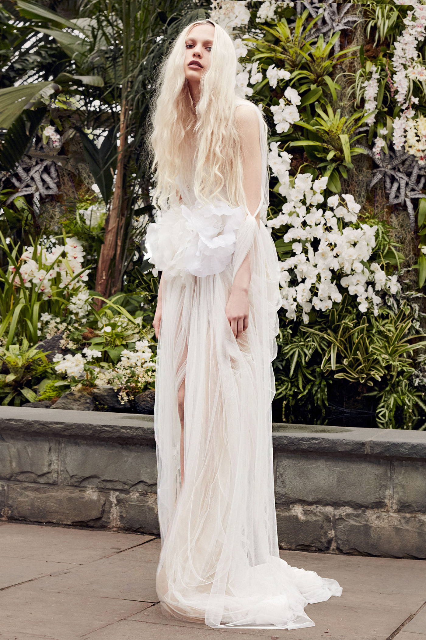 vera wang gathered floral applique wedding dress spring 2020