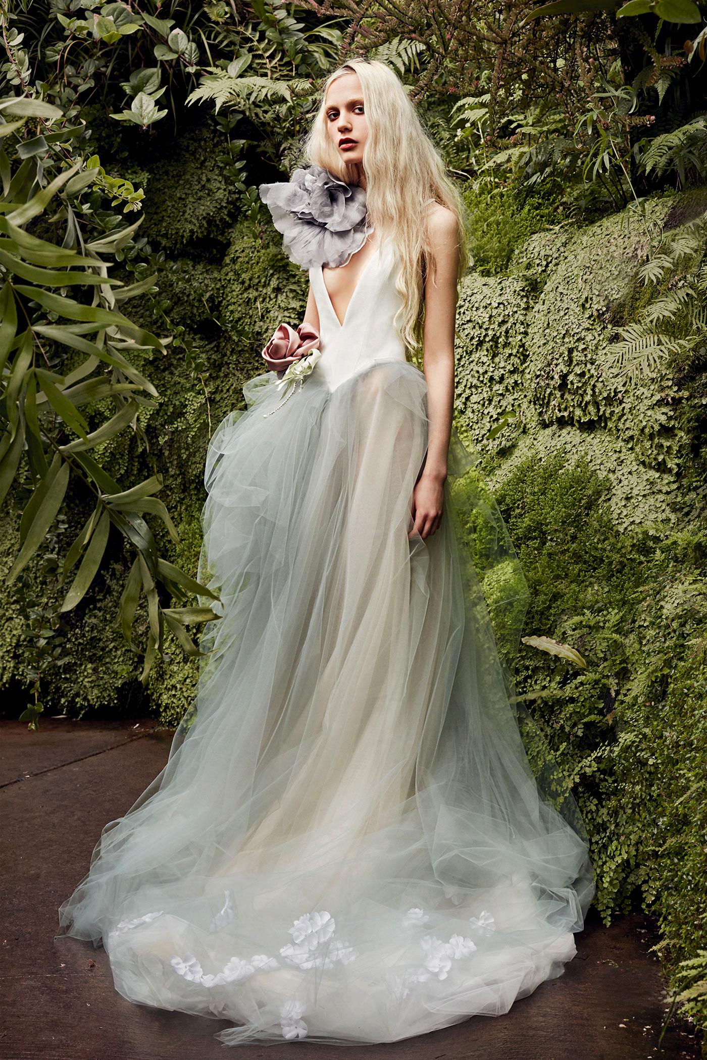 vera wang blue-gray tulle skirt wedding dress spring 2020
