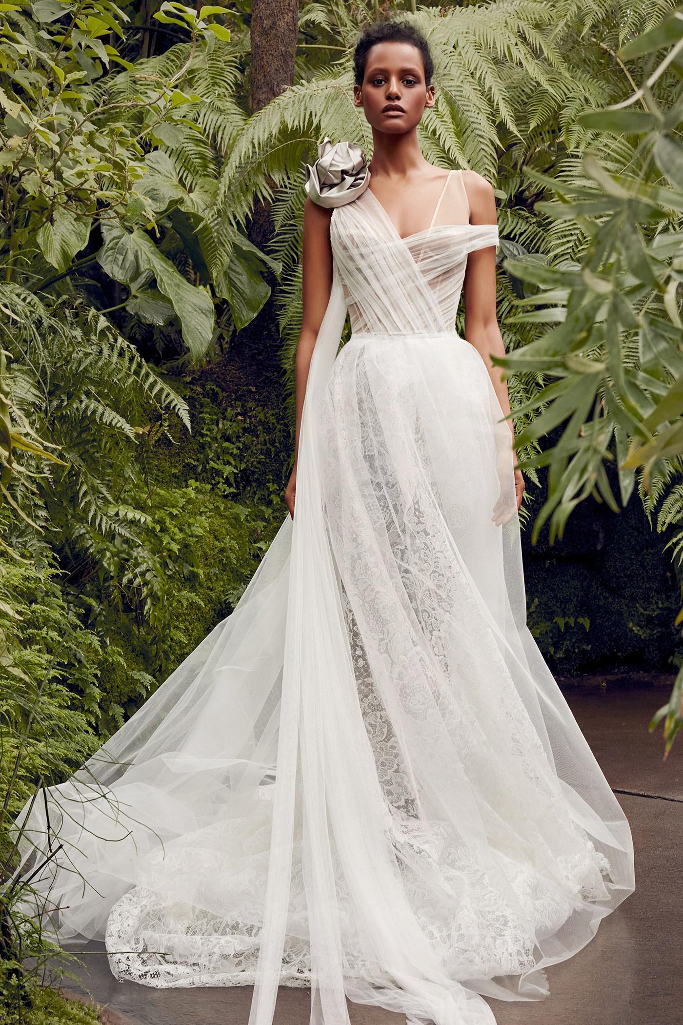 vera wang asymmetrical tulle overlay wedding dress spring 2020