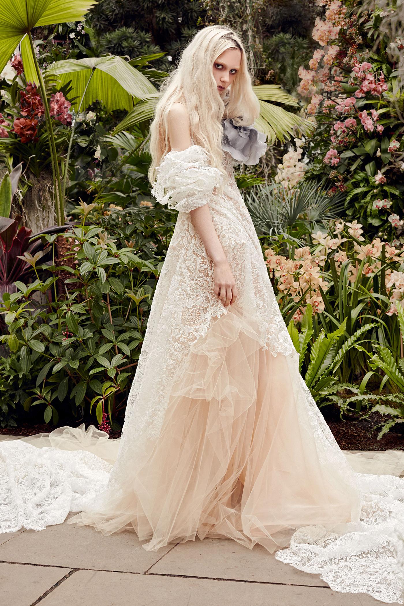 vera wang light salmon lace wedding dress spring 2020