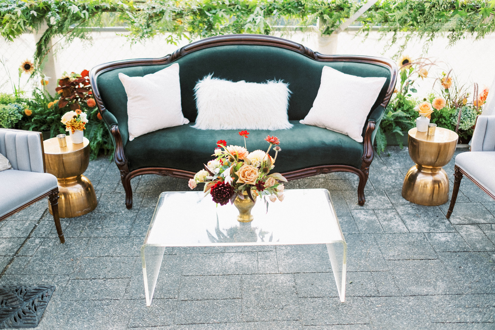 velvet furniture seating area wedding lounge