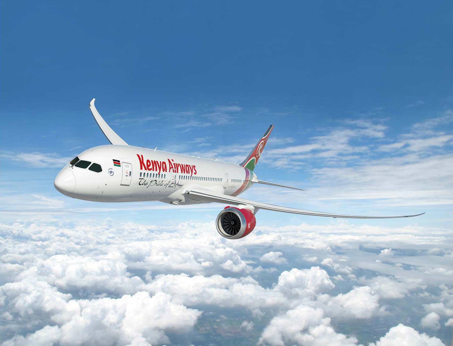 kenya airways airplane above clouds