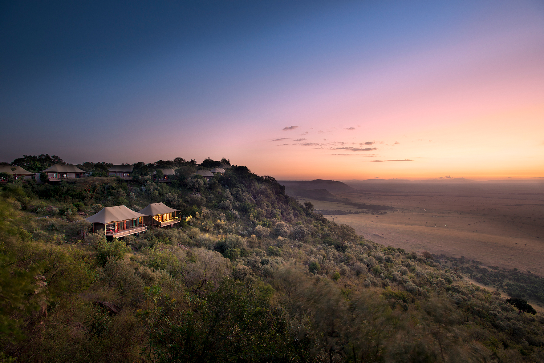 africa trip hillside camp sunset view