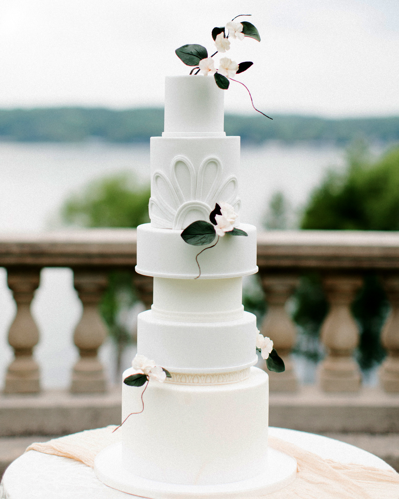 various sized tiered wedding cake