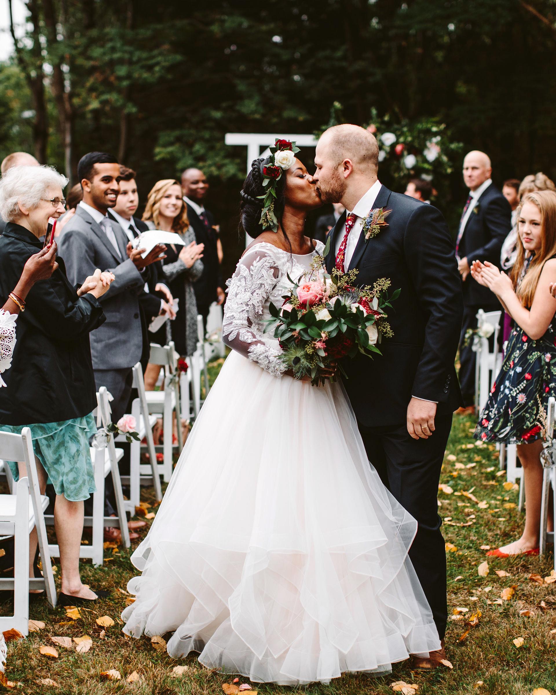 rivka aaron wedding couple bride groom kissing after ceremony