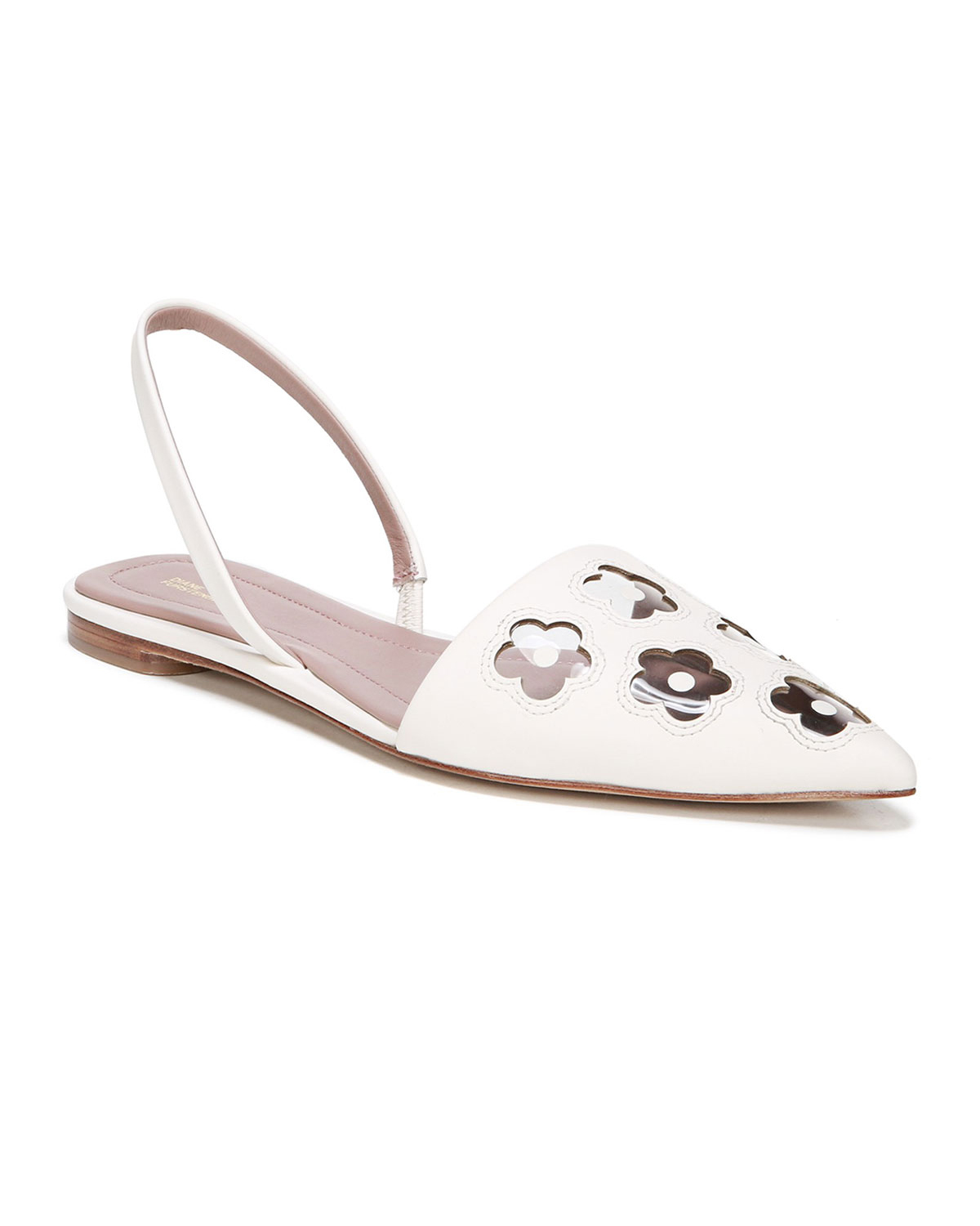 white leather and pvc flower flats