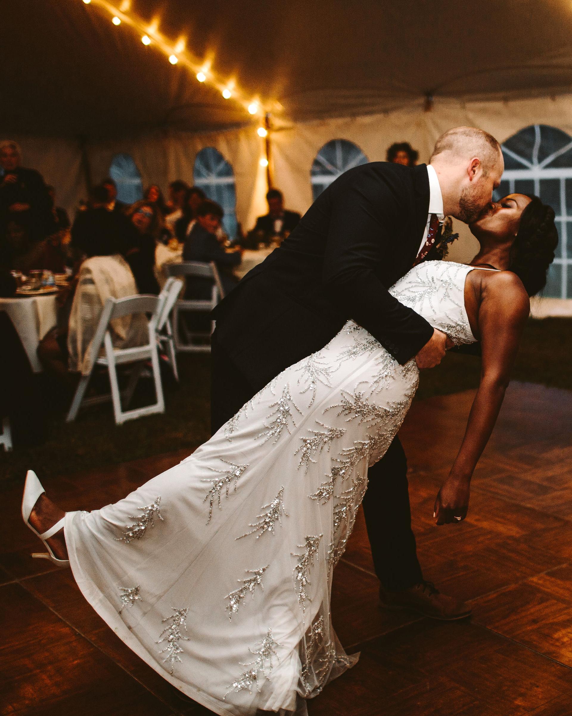 rivka aaron wedding couple first dance dip and kiss