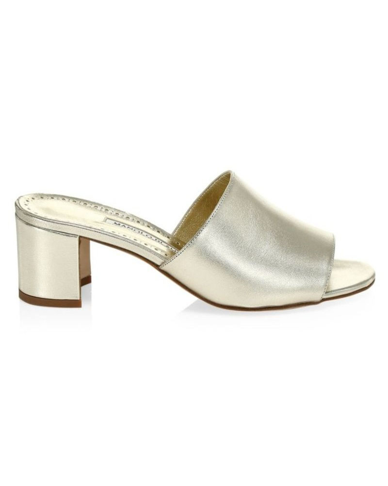 metallic leather mules