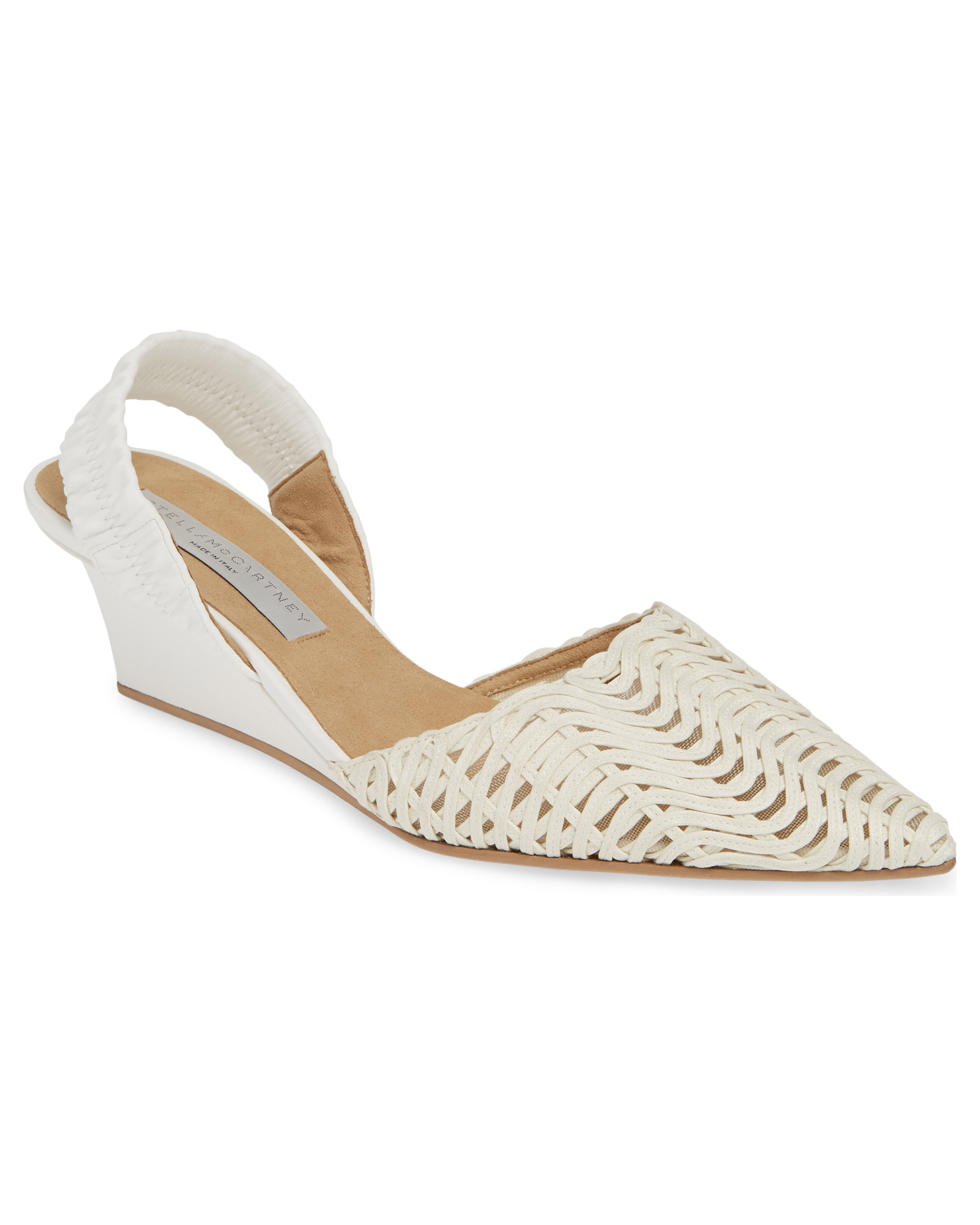 white woven slingback wedge pumps