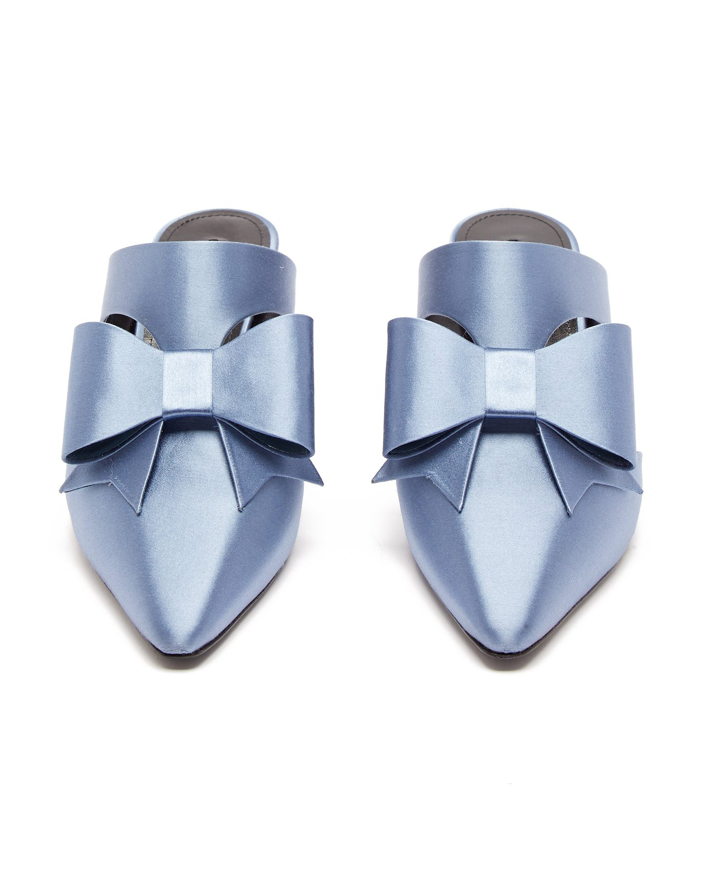 blue metallic bow-embellished satin mules