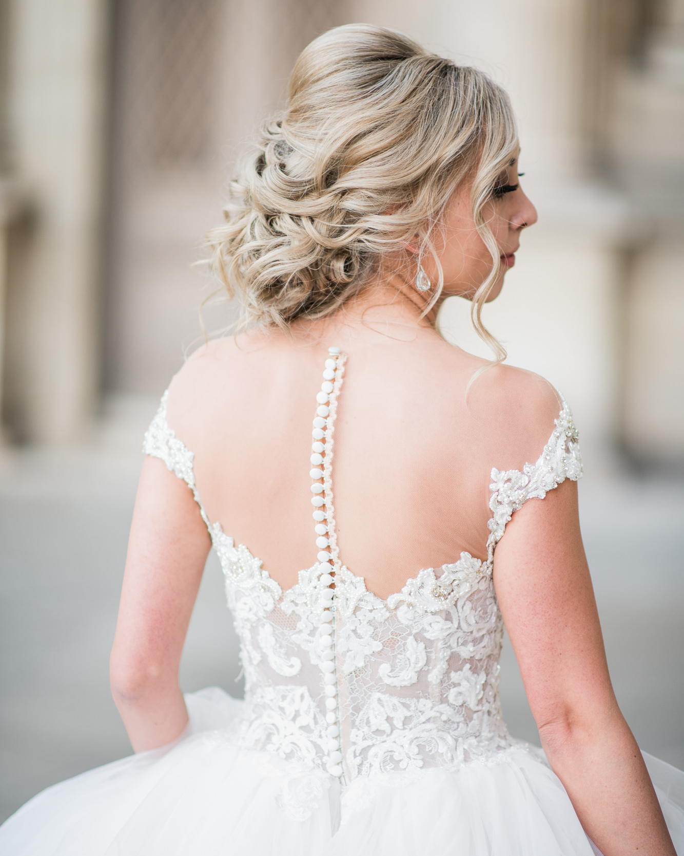 wedding dresses with buttons illusion back
