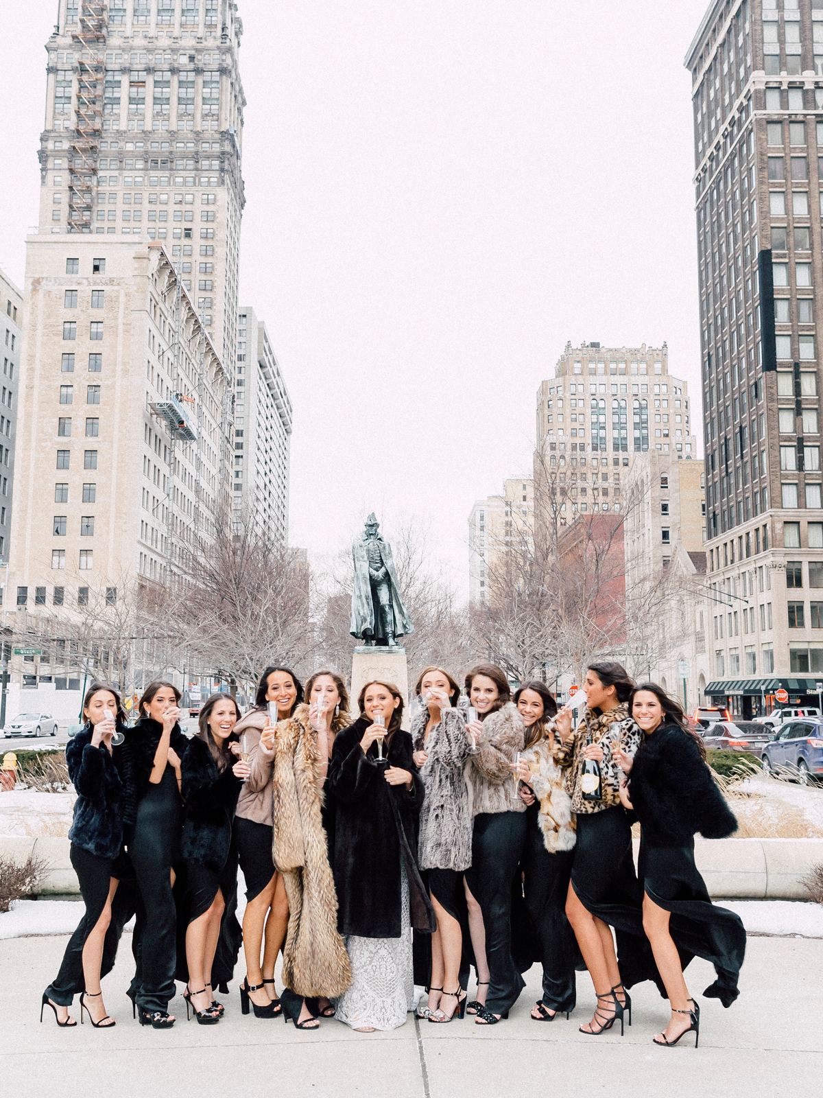 animal print wedding ideas bridal party wearing fur coats