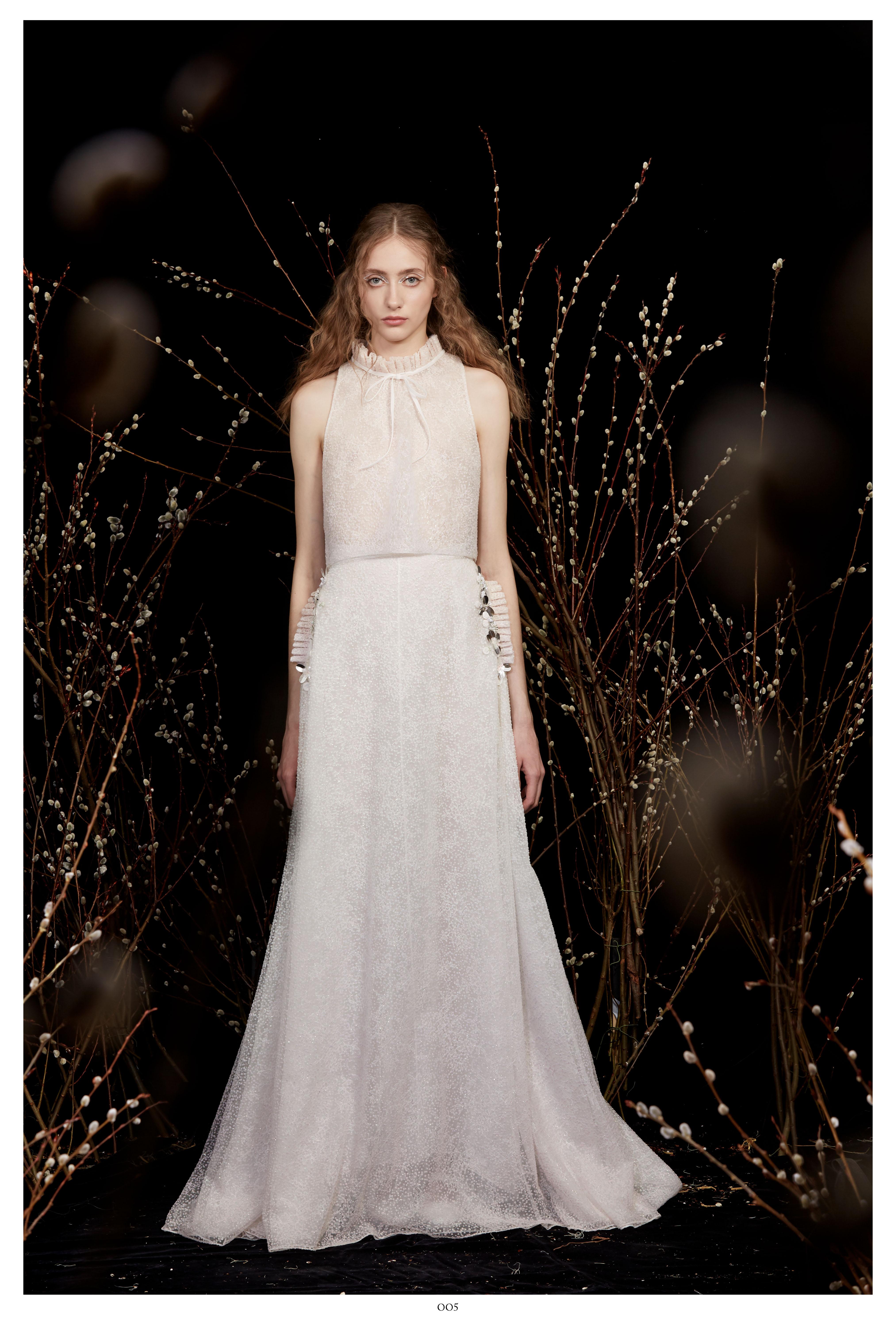 high-neck sleeveless white ribbon bow a-line wedding dress Honor Spring 2020