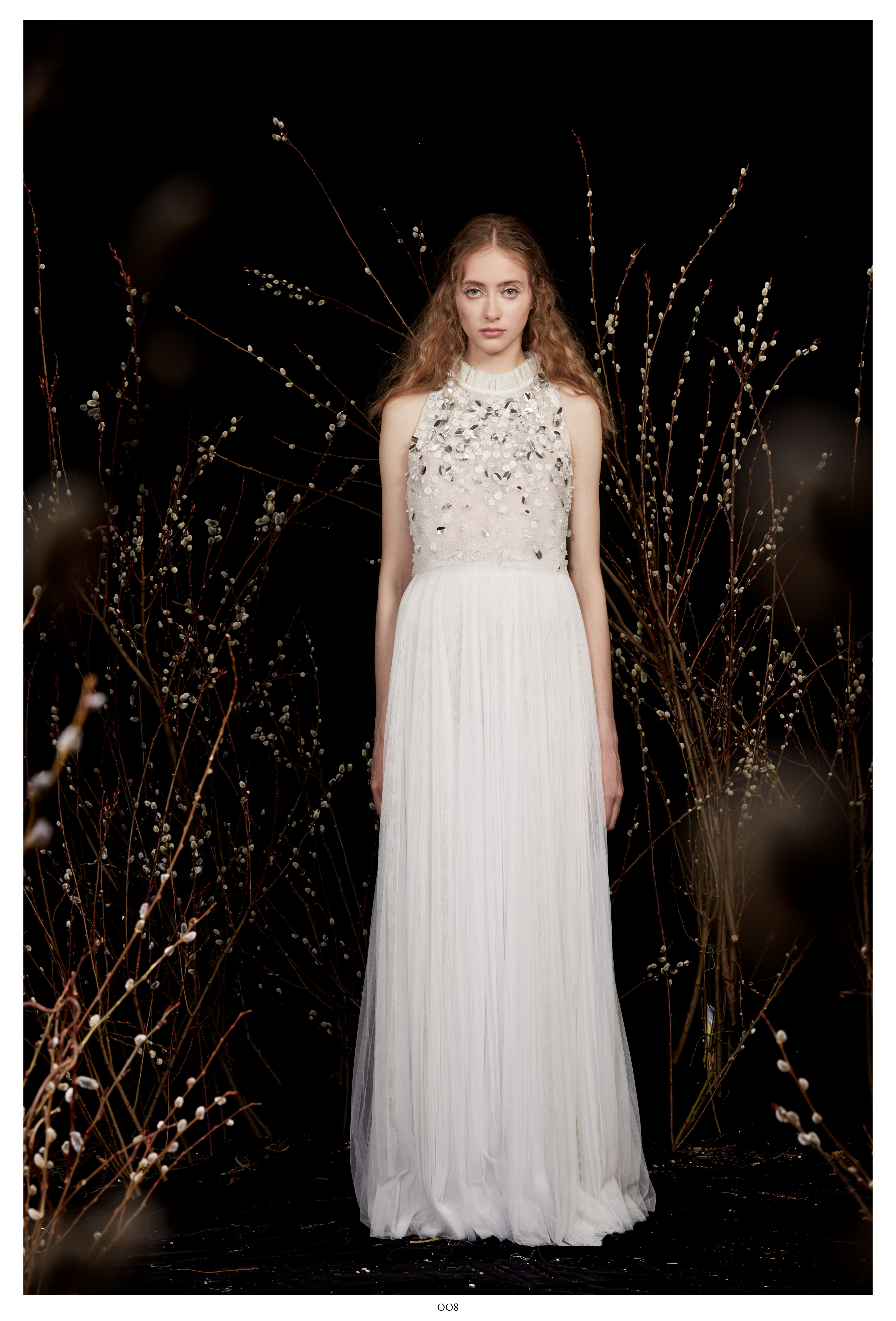 high-neck applique sheer sleeveless a-line wedding dress Honor Spring 2020