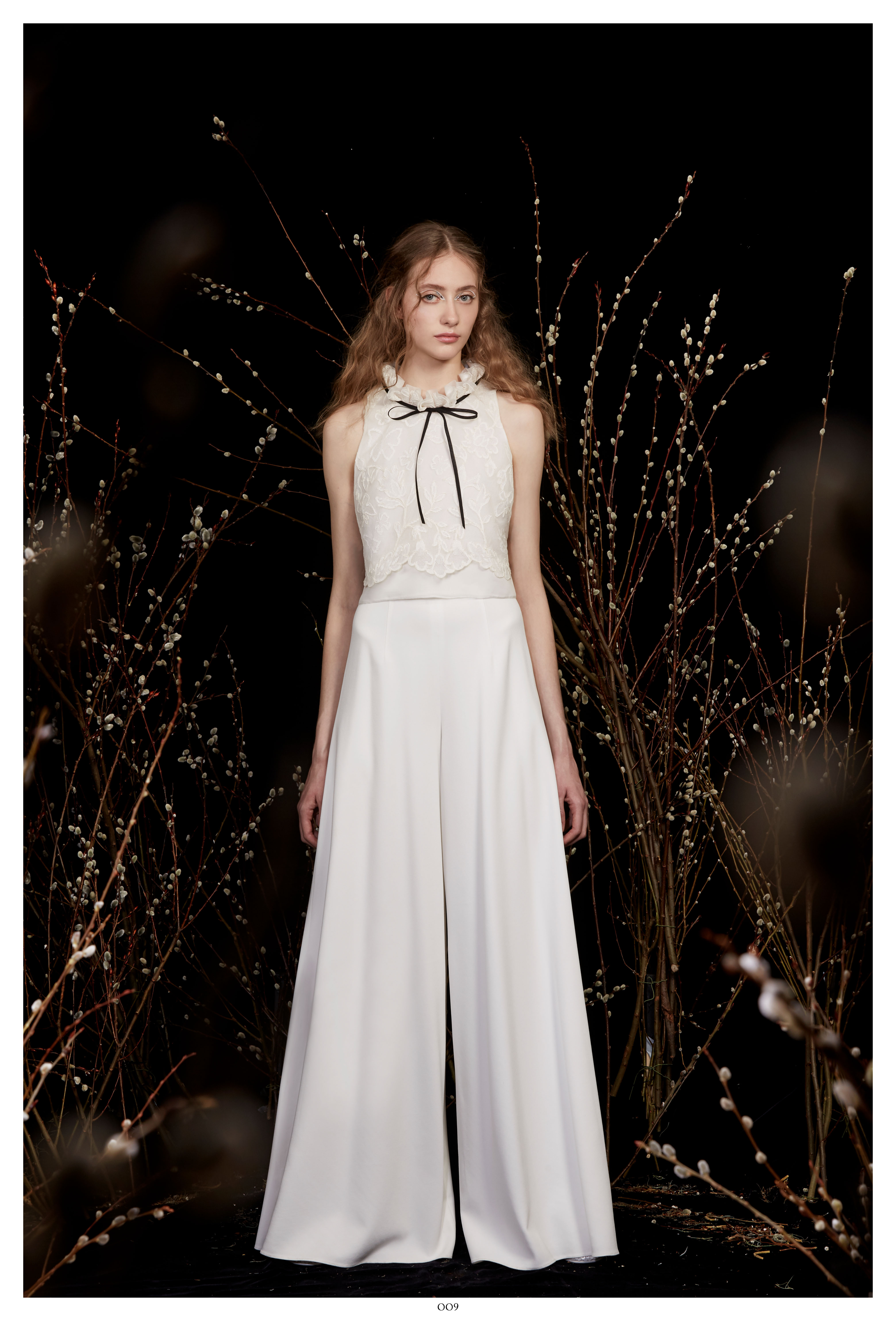 high-neck black ribbon bow sleeveless a-line front slit wedding dress Honor Spring 2020