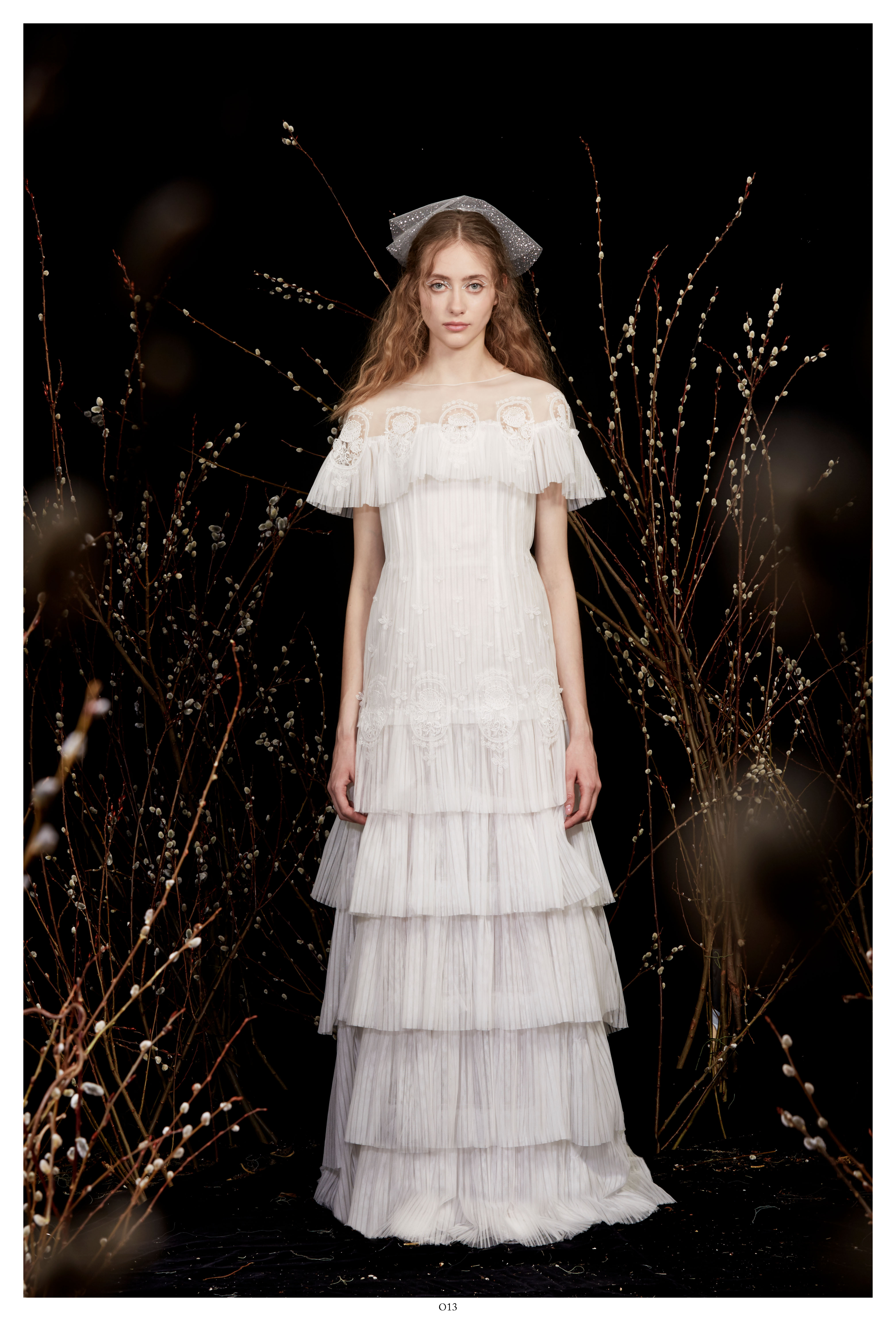 illusion high-neck tiered ruffles lace a-line wedding dress Honor Spring 2020