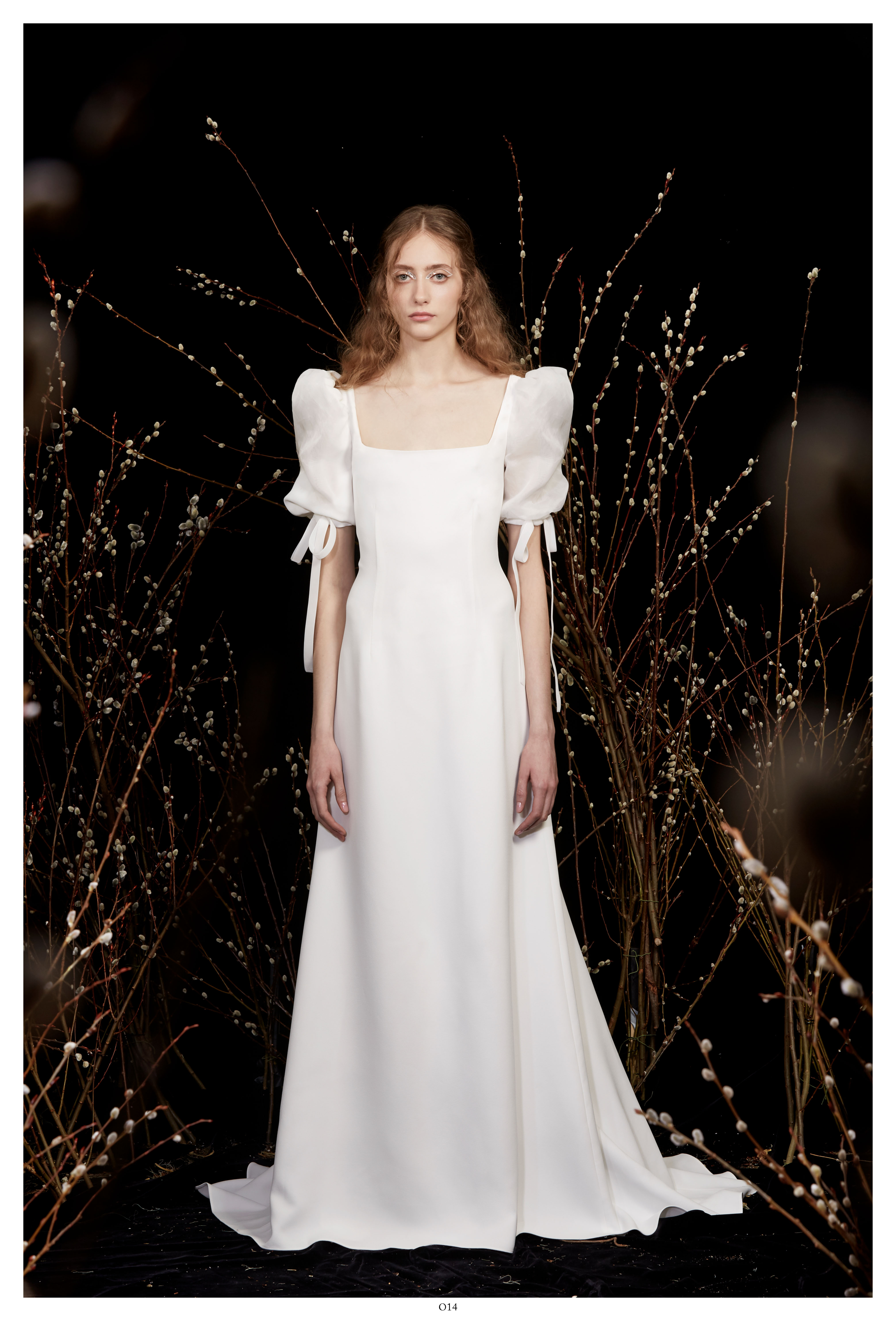 square neckline puffed sleeves a-line wedding dress Honor Spring 2020