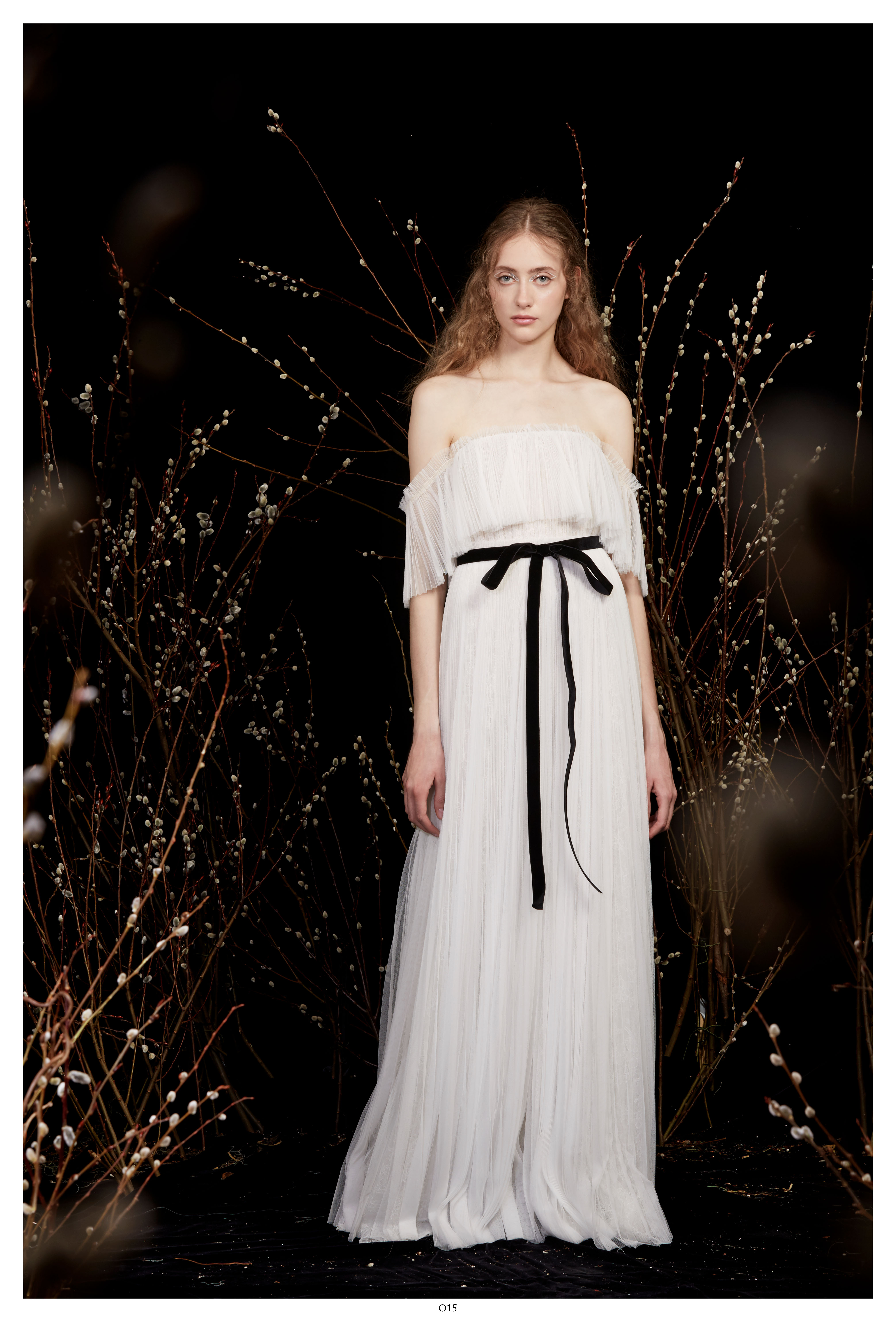 off-the-shoulder tulle black ribbon belted waist a-line wedding dress Honor Spring 2020