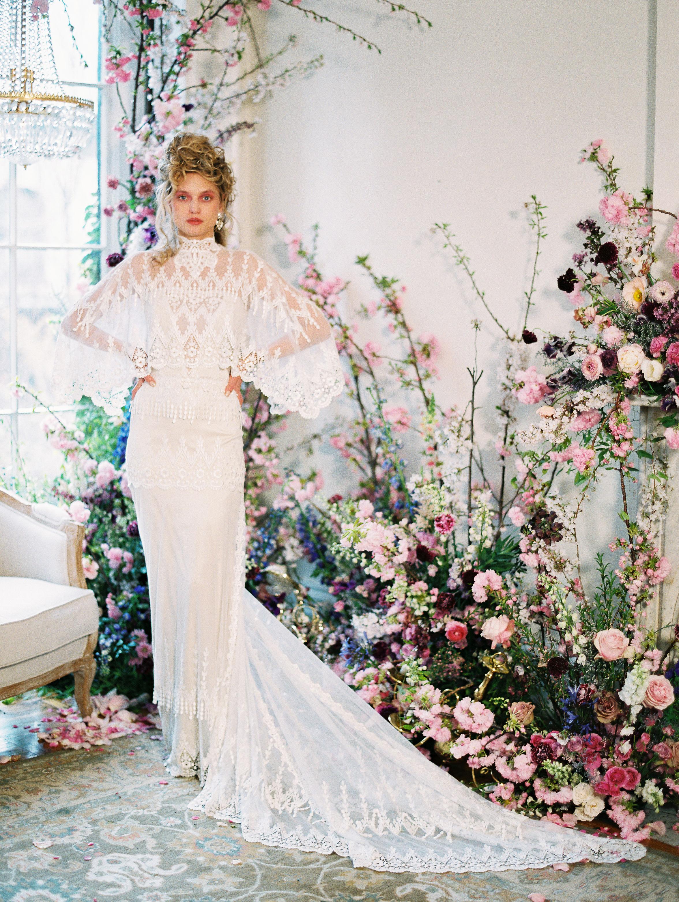 lace high-neck caplet train a-line wedding dress Claire Pettibone Spring 2020