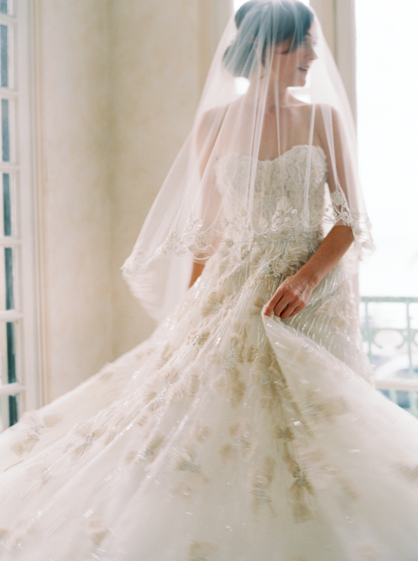 beaded applique Rivini ball gown