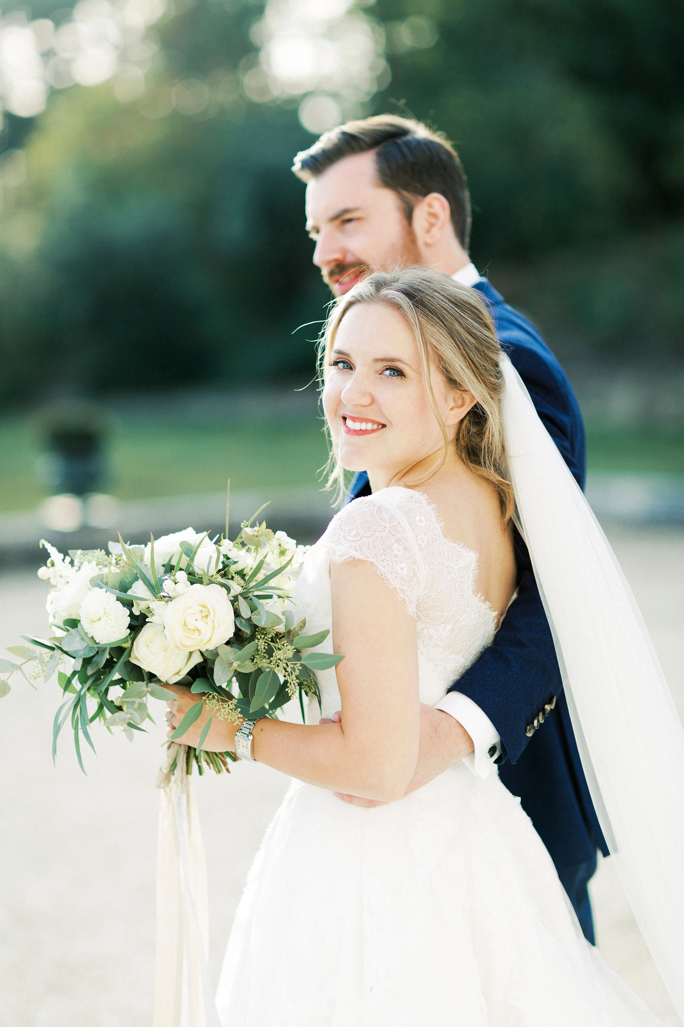 sophie christopher wedding couple looking back