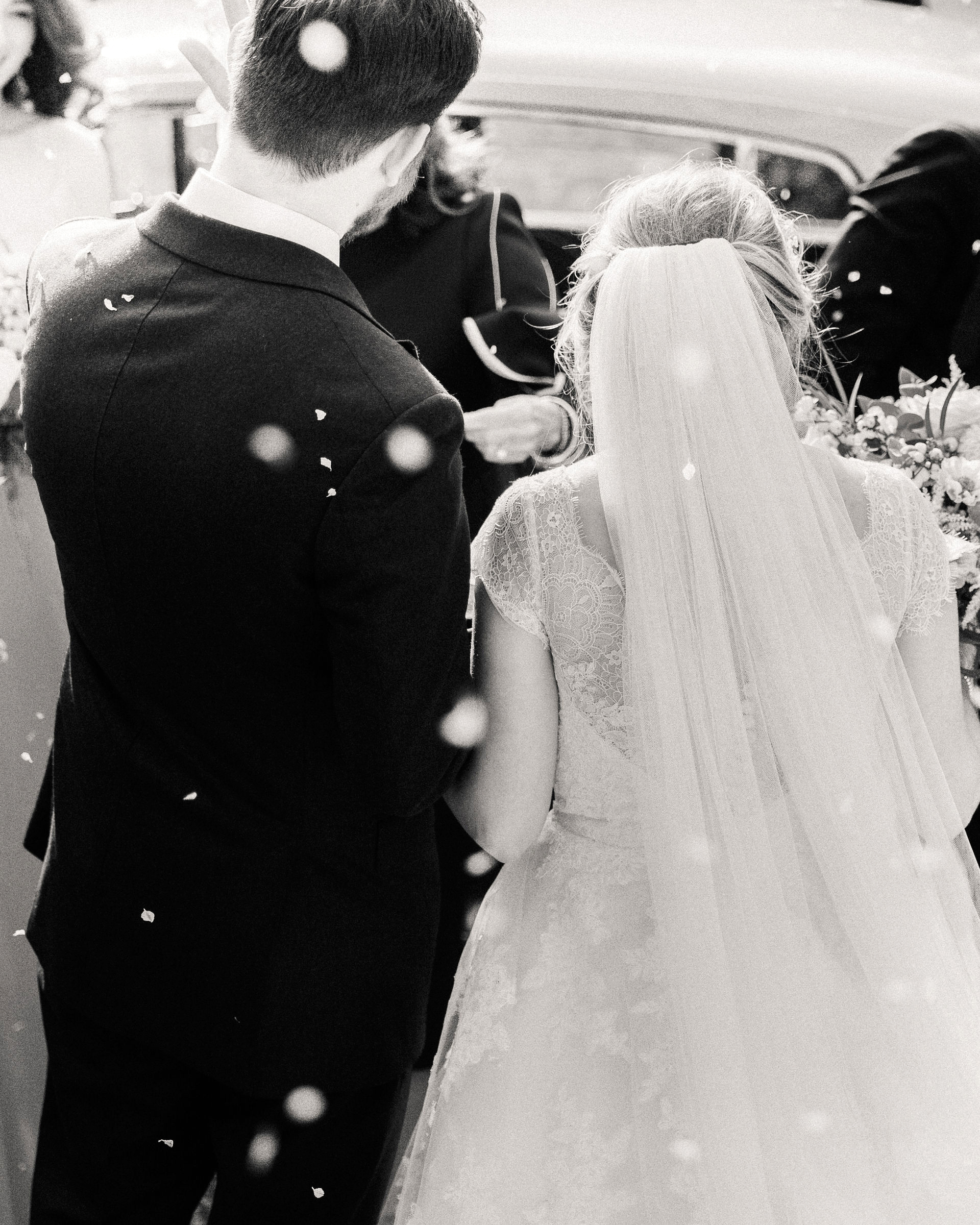 sophie christopher wedding couple exit in black and white
