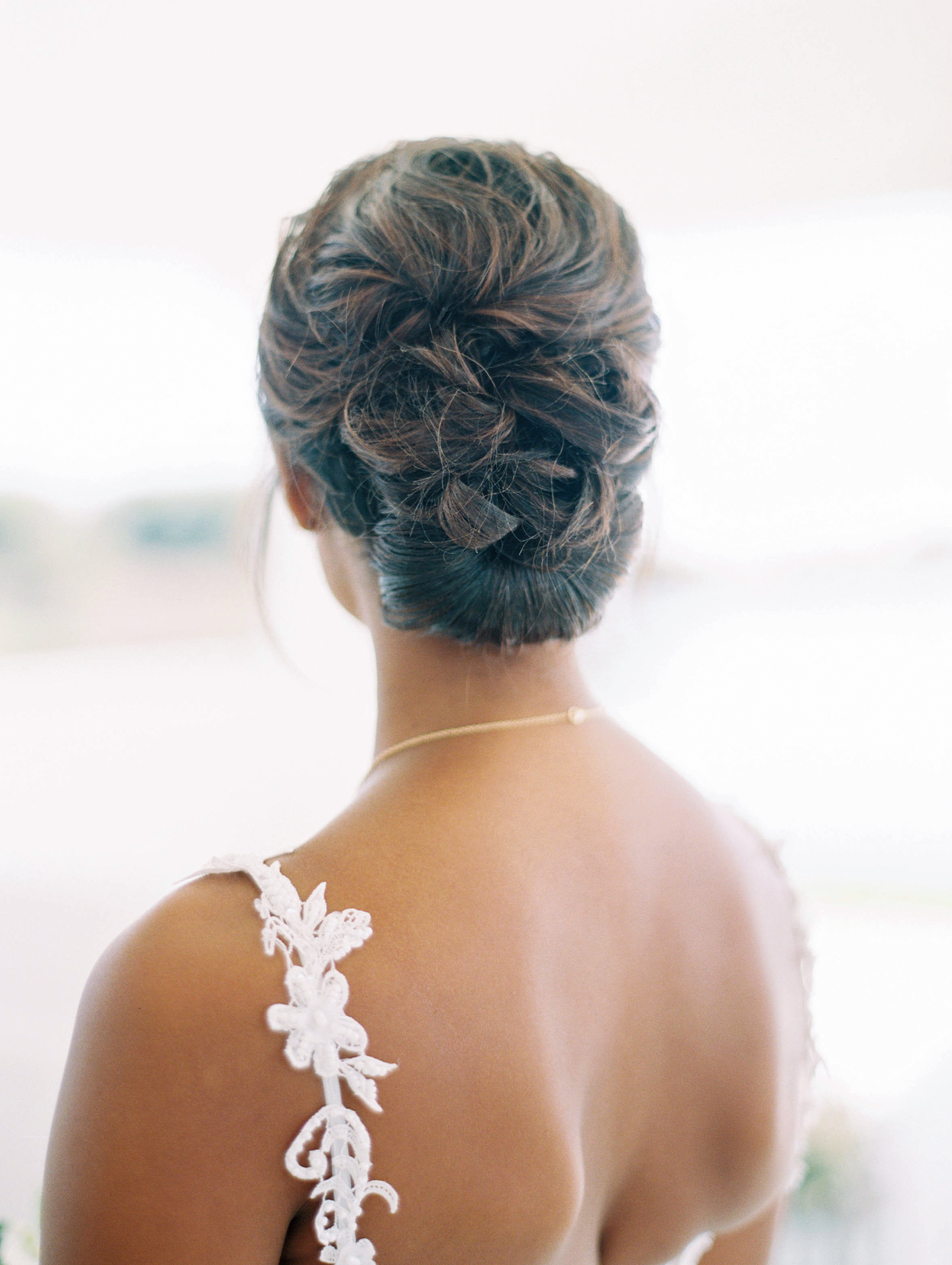 wedding bride hair updo bun