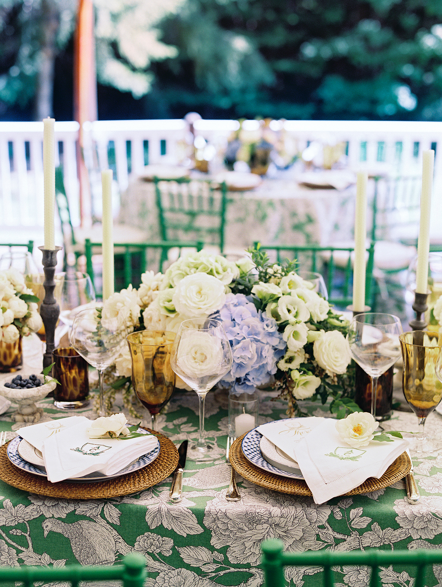 charles andrew wedding green reception table