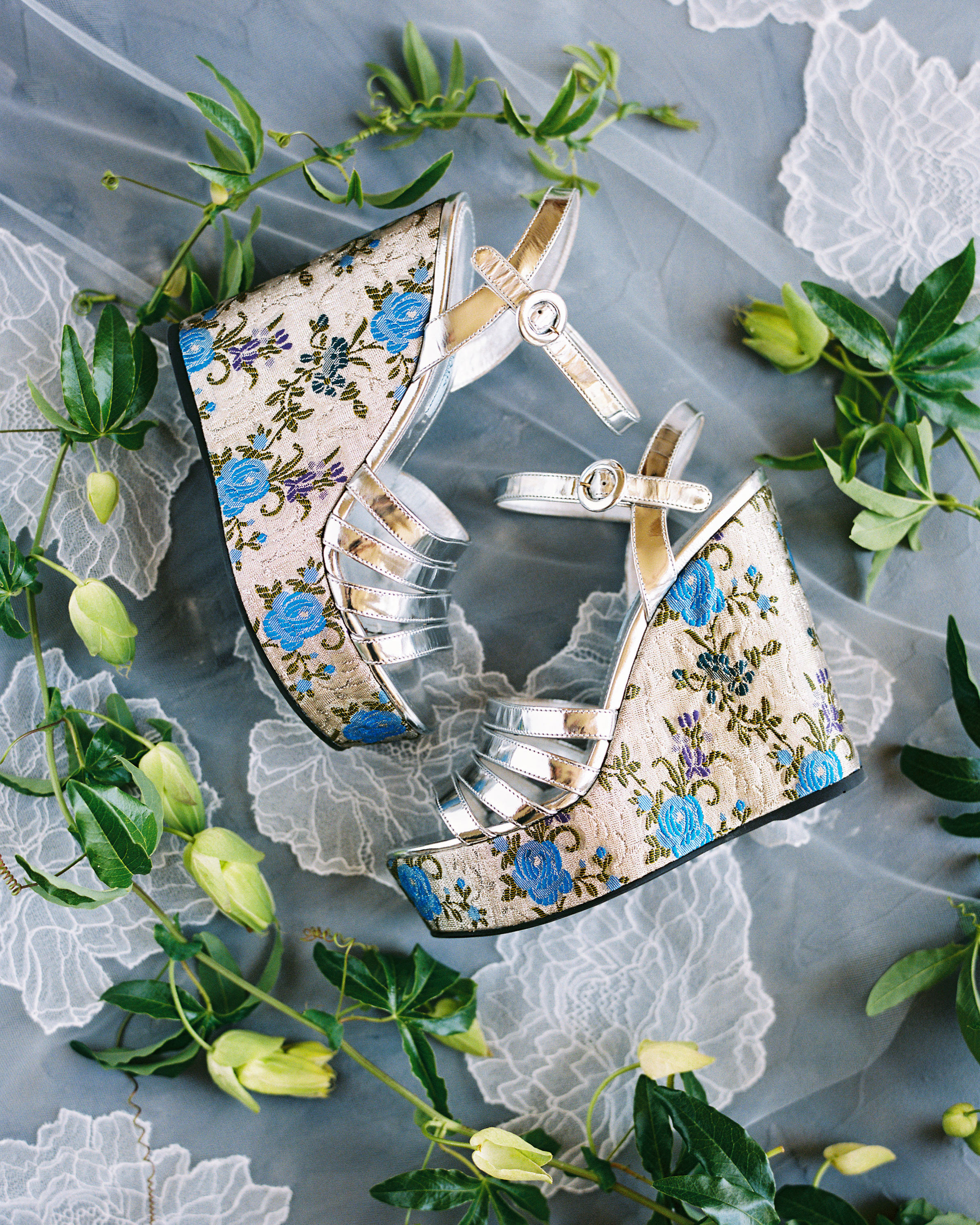 blue floral high heel wedding shoes