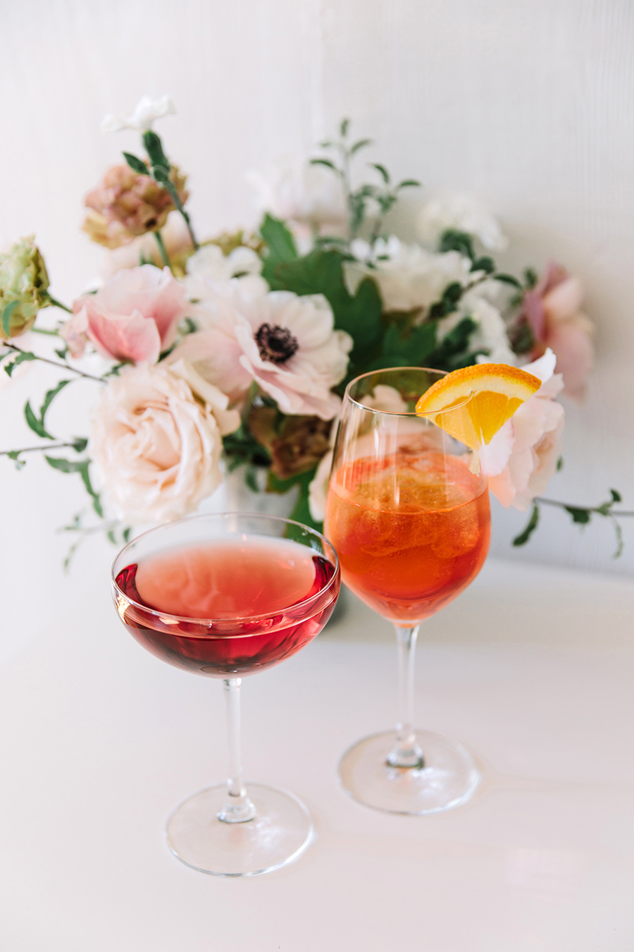 Aperol spritzes and sparking rosé cocktails