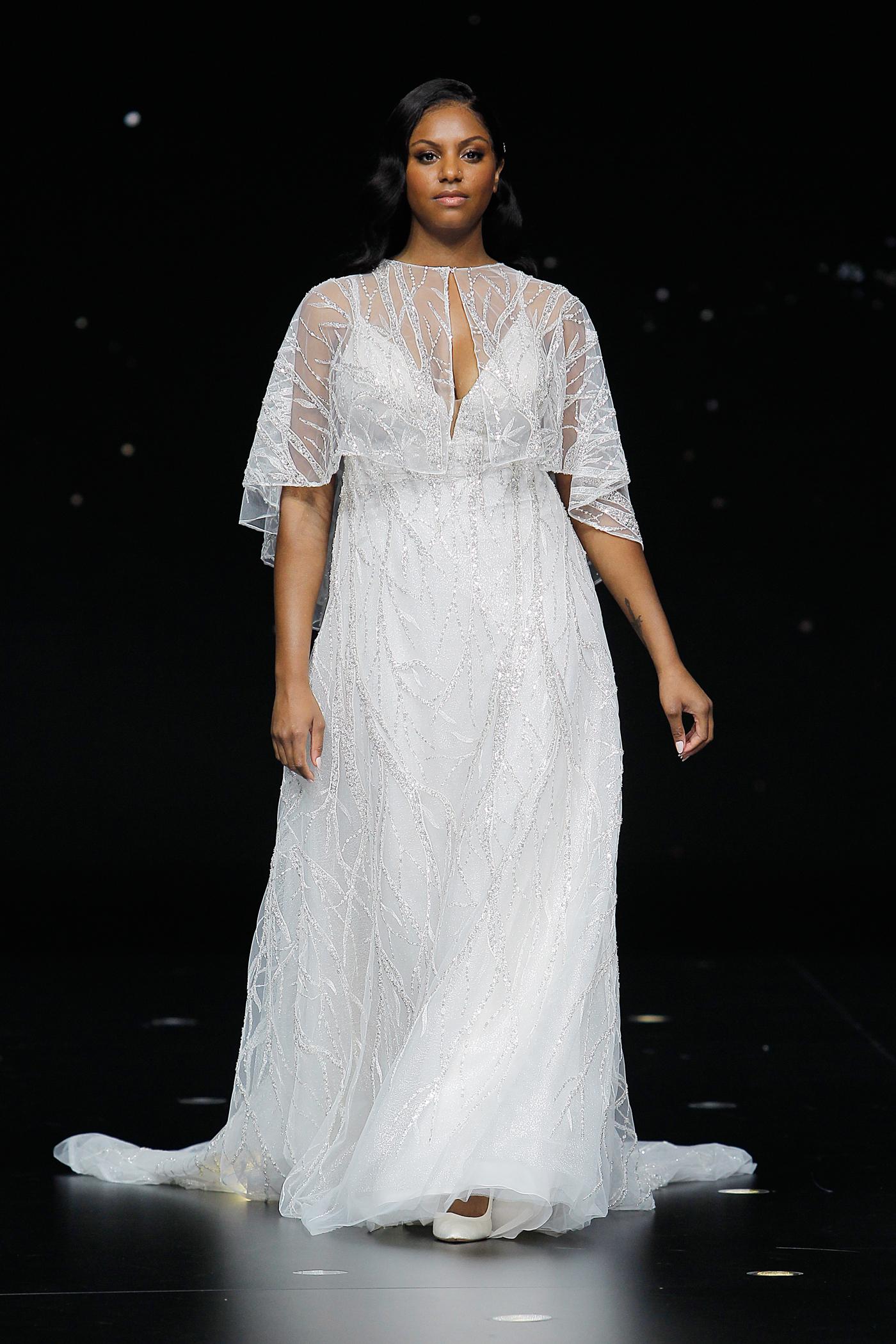 pronovias glittery spaghetti strap wedding dress with capelet spring 2020