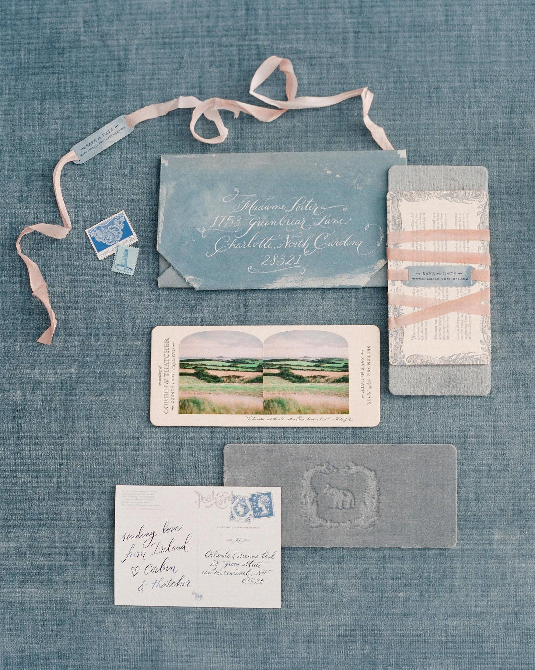 wedding stationery invitation postcard hand written