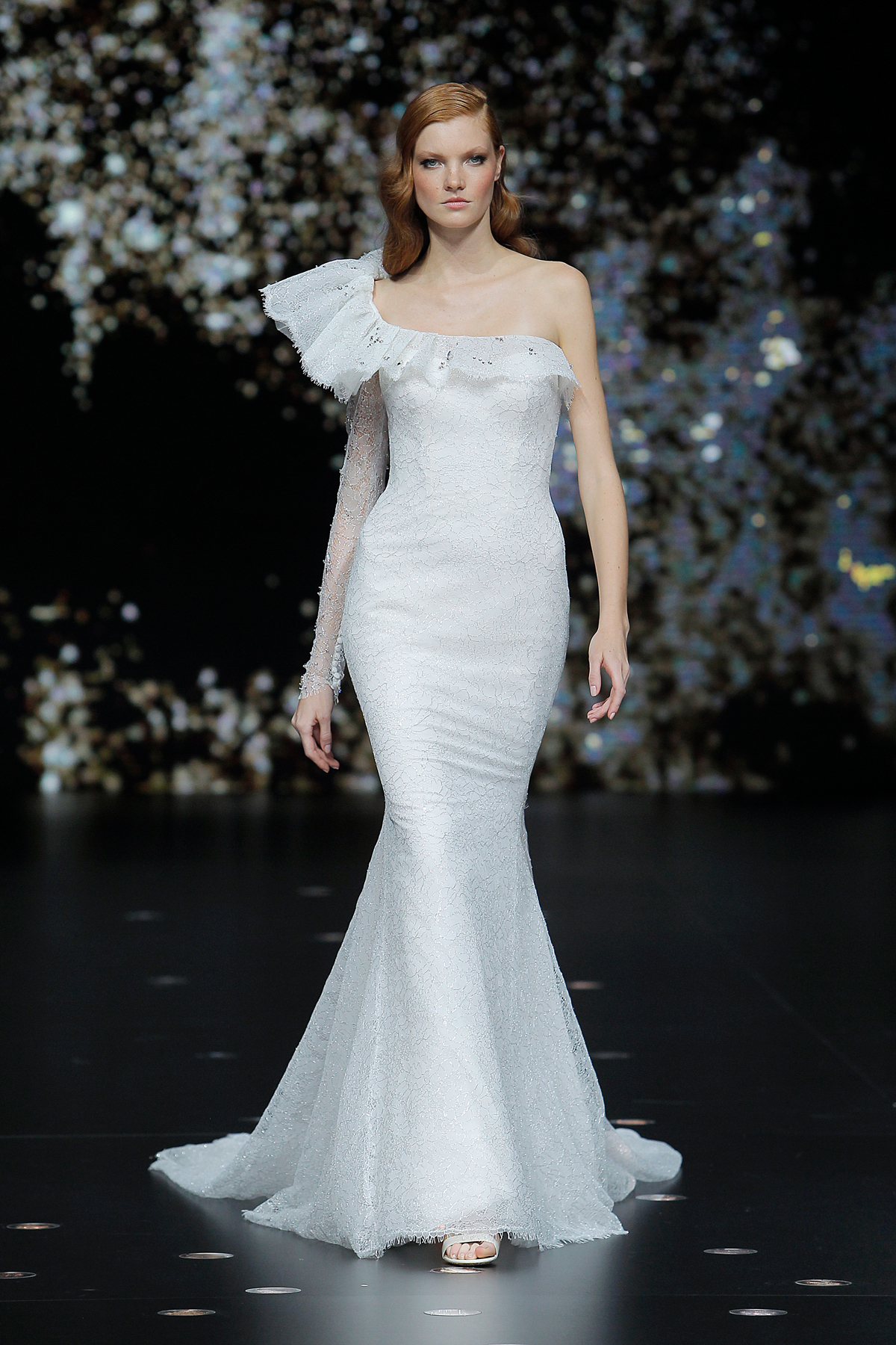 pronovias asymmetrical trumpet wedding dress spring 2020