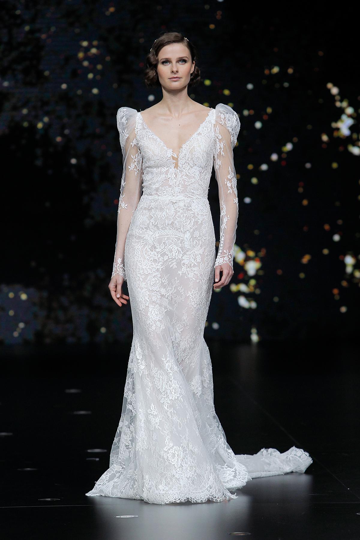 pronovias strapless lace long leg of mutton sleeves wedding dress spring 2020