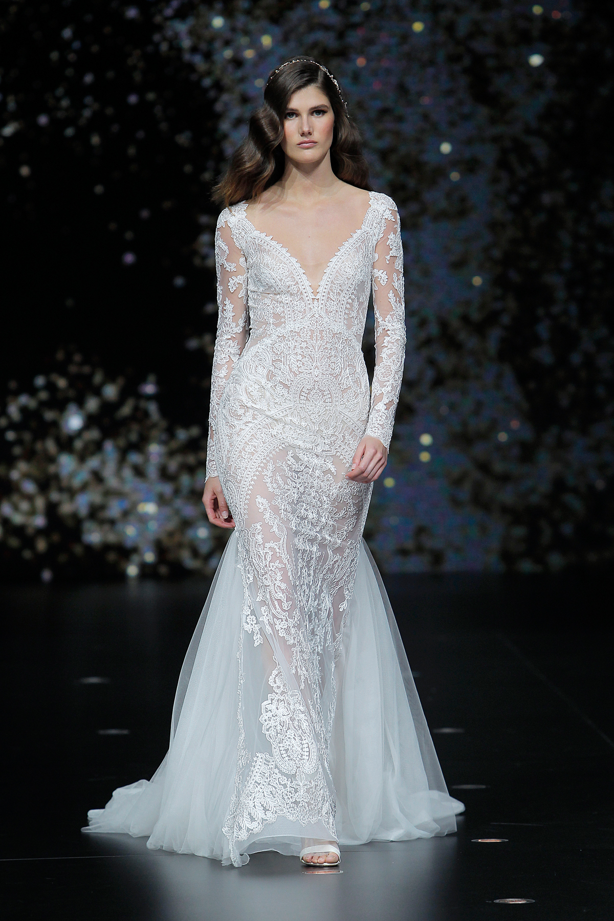 pronovias sheer long sleeve lace wedding dress with tulle train spring 2020