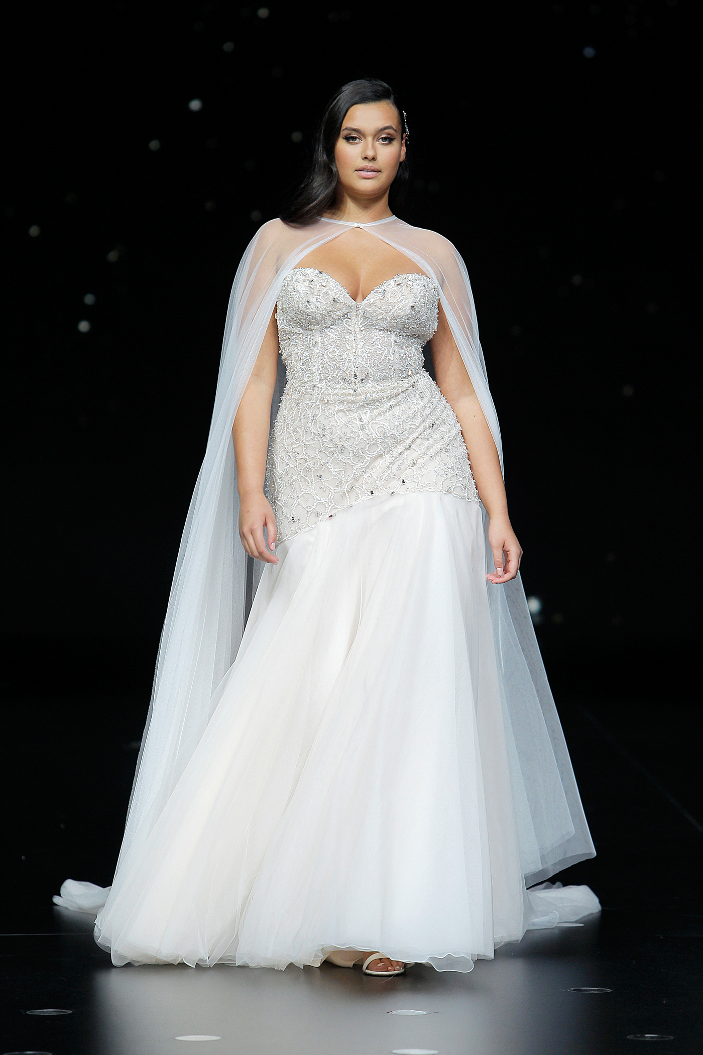 pronovias strapless lace and tulle a-line wedding dress with cape spring 2020