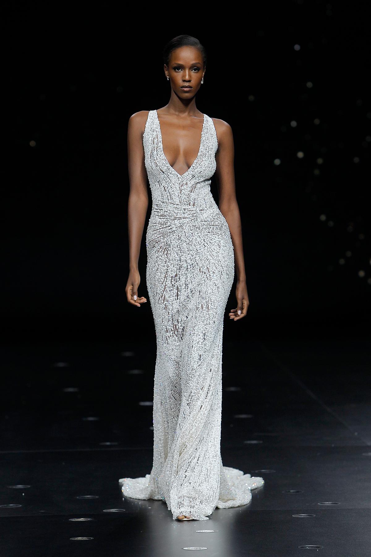 pronovias metallic plunging neckline sheath wedding dress spring 2020