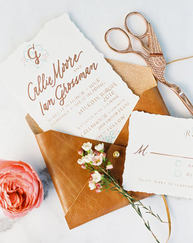 leather wedding ideas hand crafted envelopes