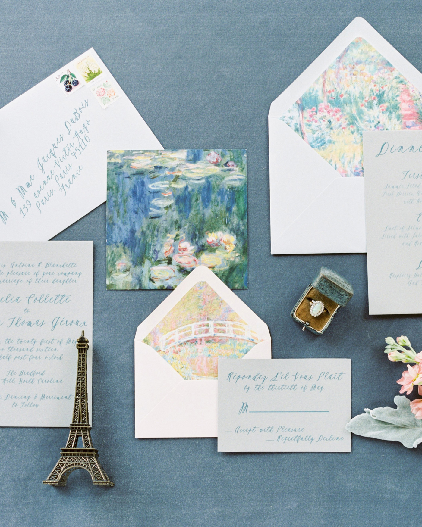 art-inspired wedding ideas monet stationary suite