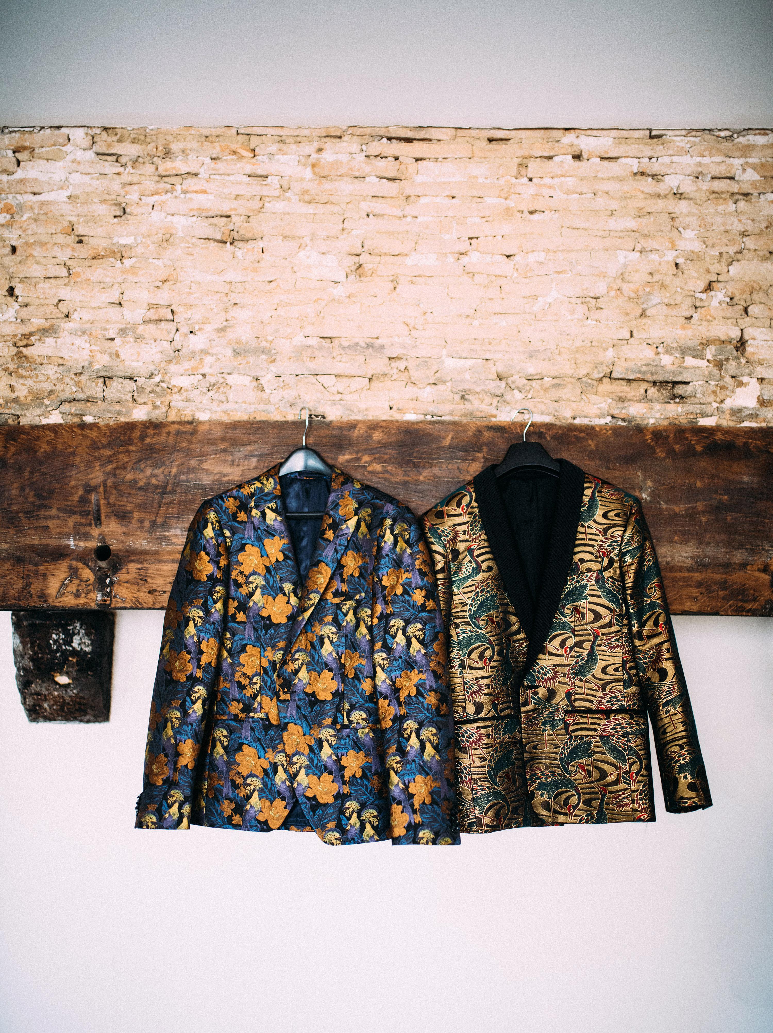 thomas jared wedding grooms patterned jackets