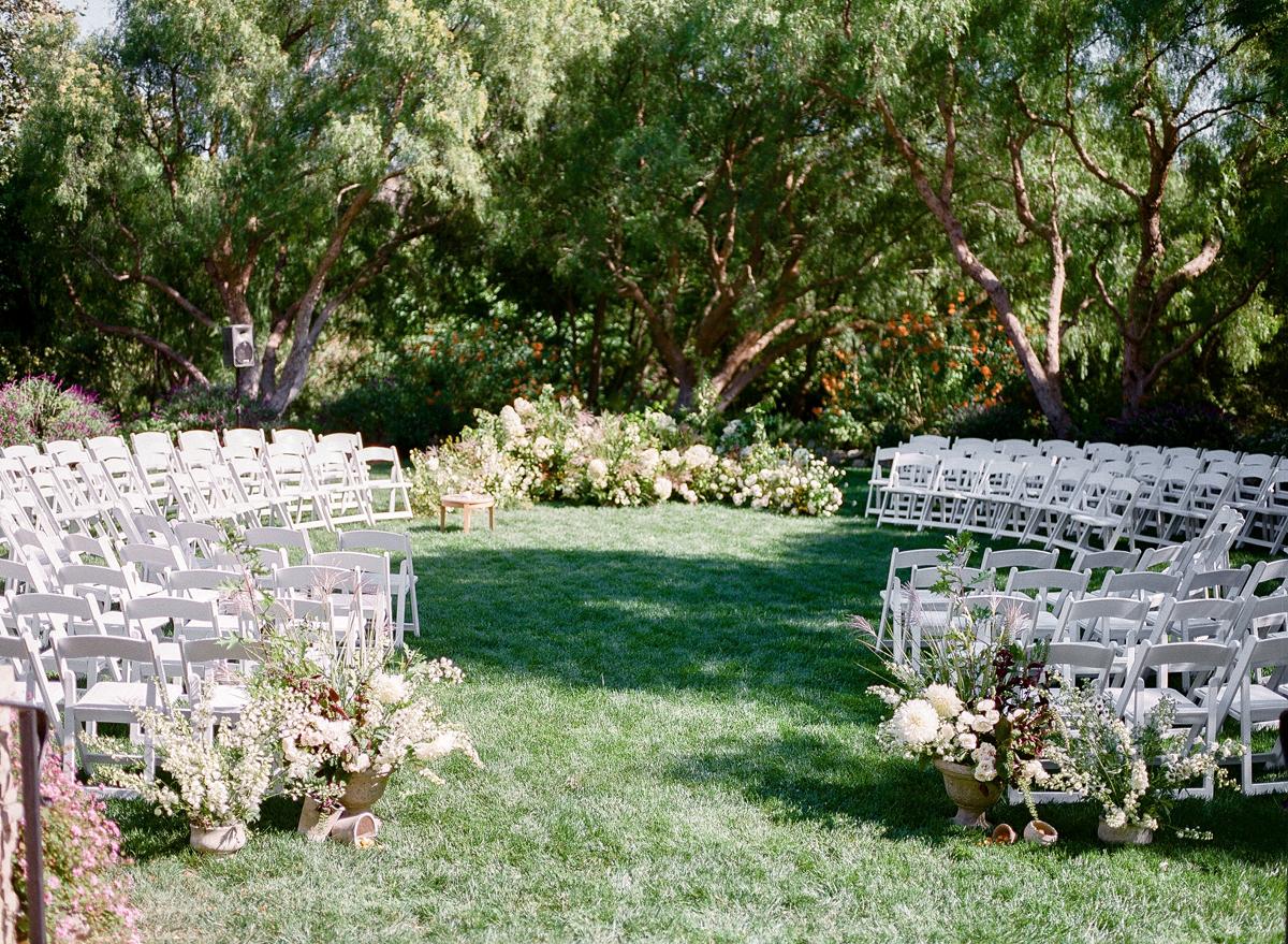 circular pattern chair outdoor wedding ceremony
