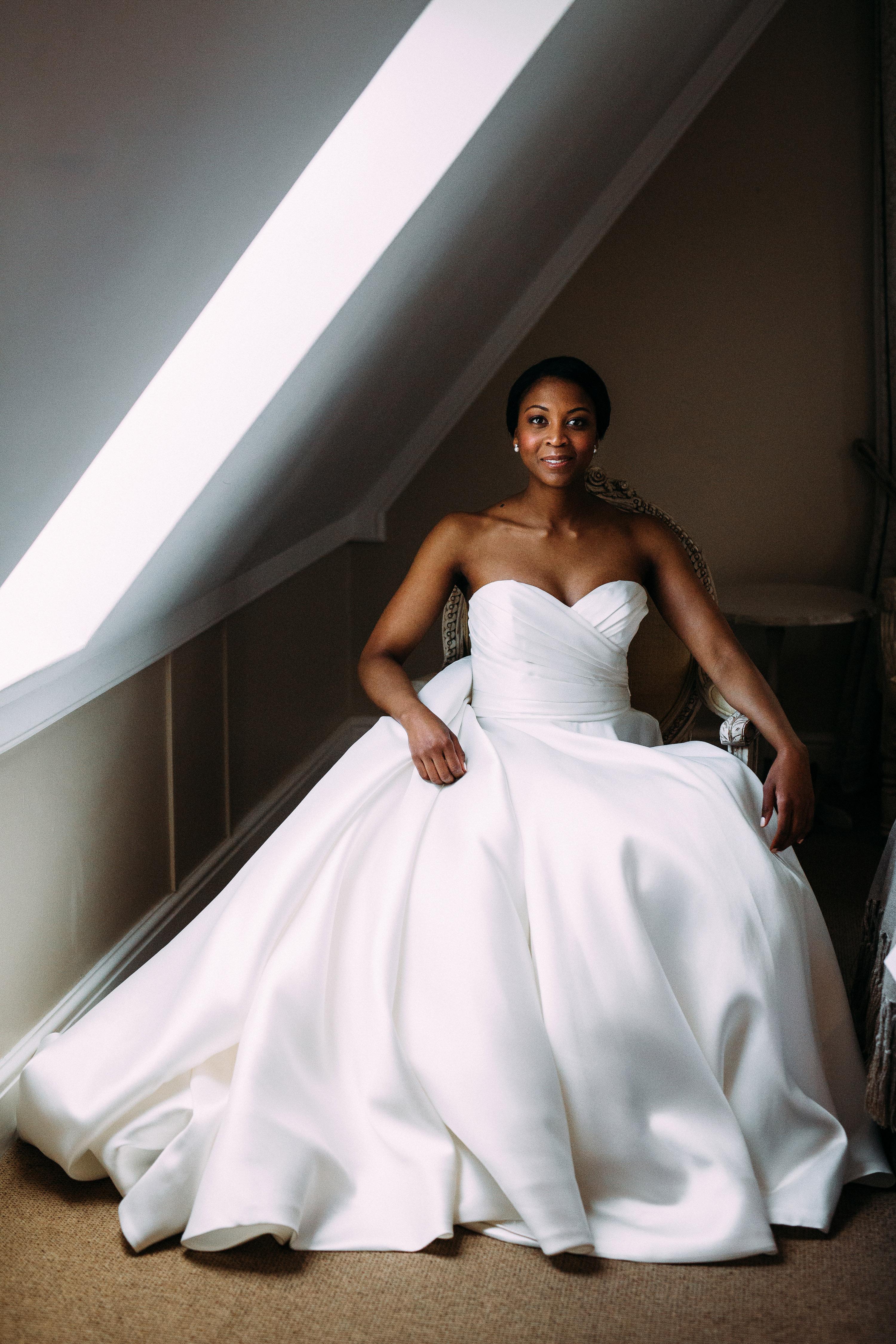 yolana douglas wedding bride seated