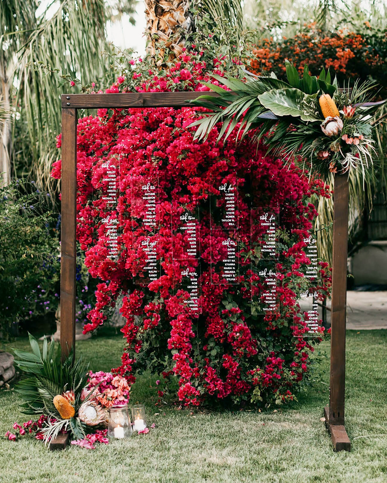 bougainvillea floral acrylic transparent seating chart