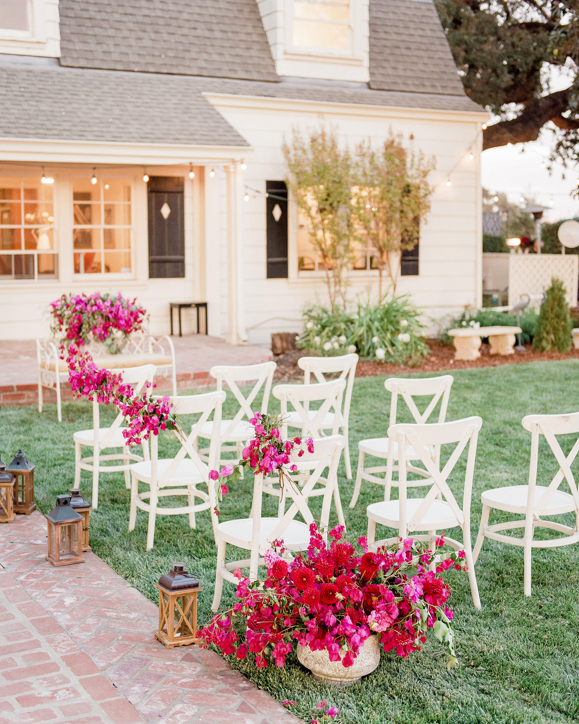 bougainvillea flowers all-white wedding ceremony