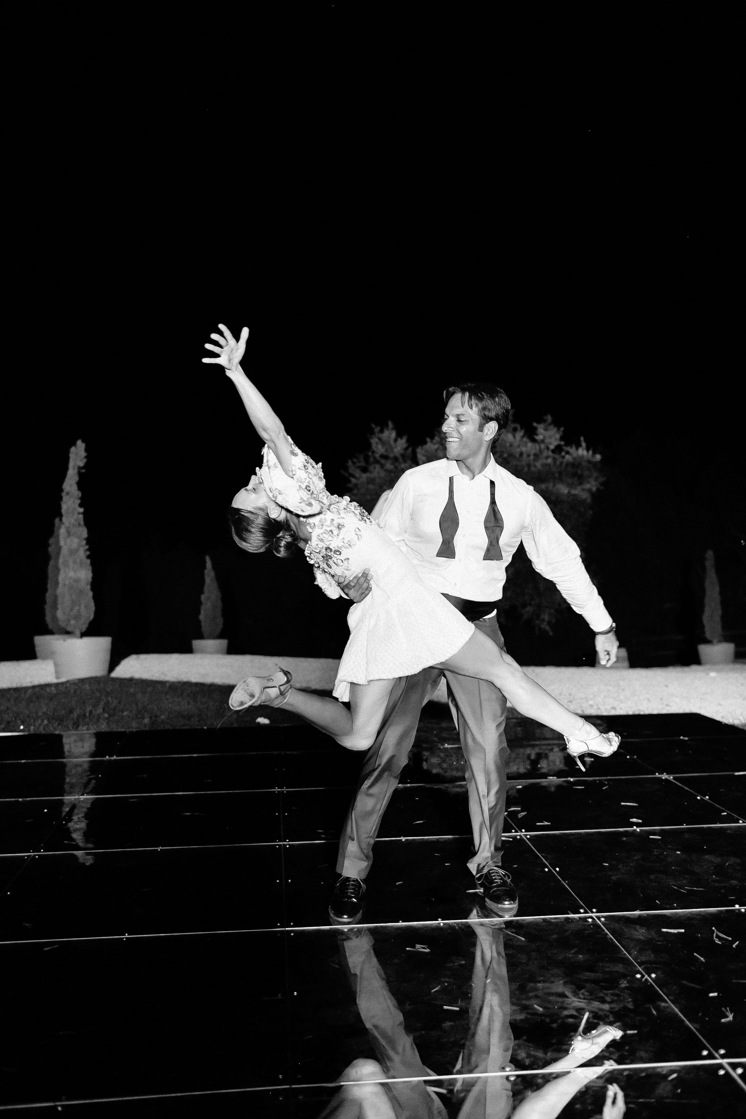 kseniya sadhir wedding couple dancing in black and white