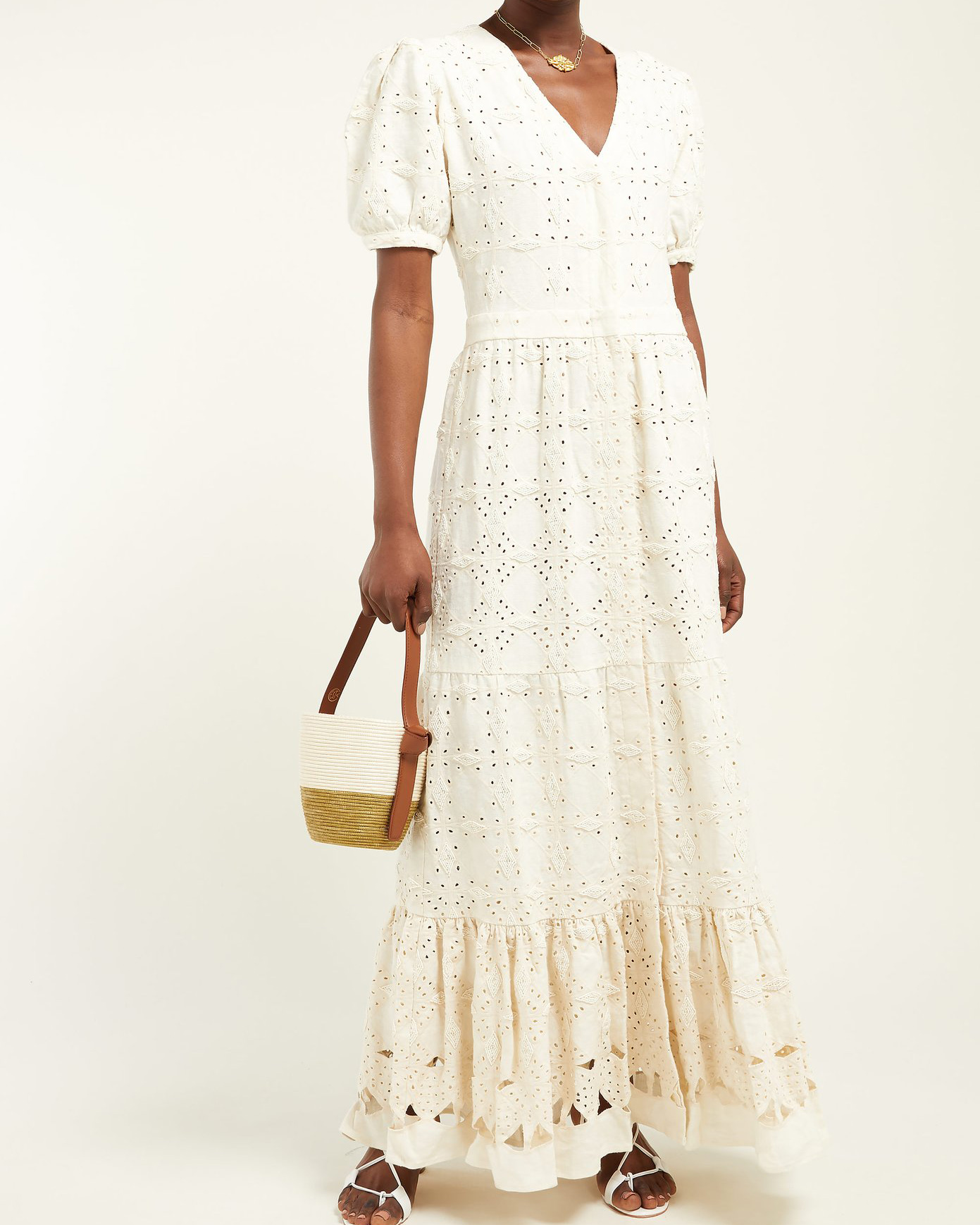 "Sir ""Cherie"" Beaded Broderie-Anglaise Linen Maxi Dress"