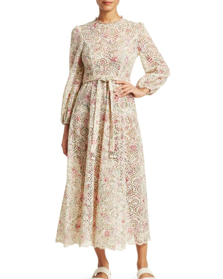 "Zimmermann ""Honour"" Floral High-Neck Cotton Dress"
