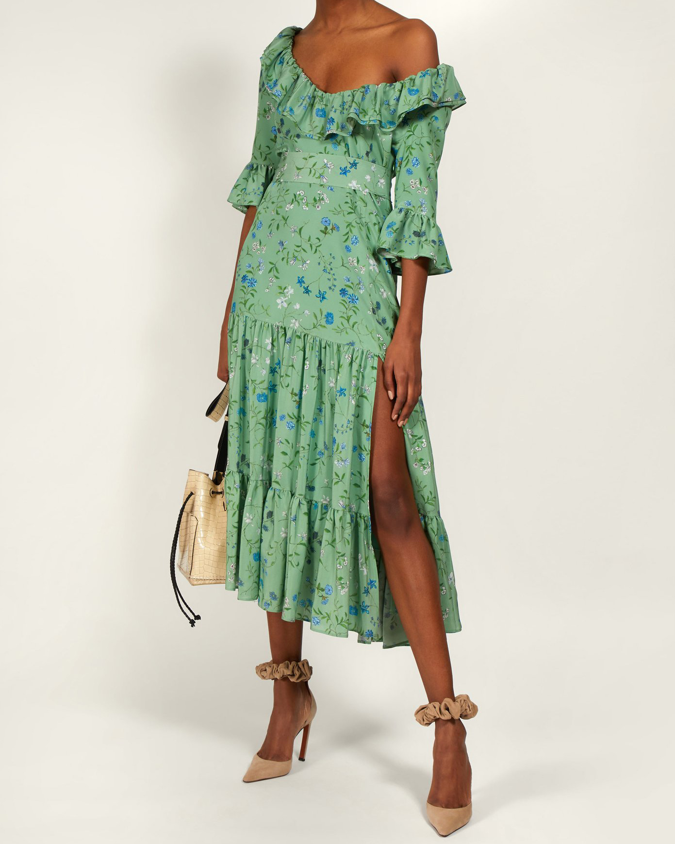 "Altuzarra ""Helden"" Floral-Print Ruffle Dress"